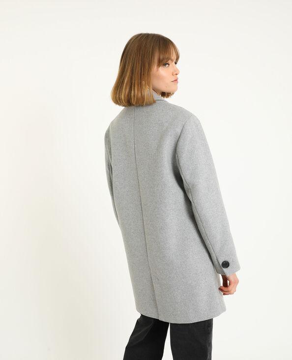 Cappotto in panno di lana grigio chiné