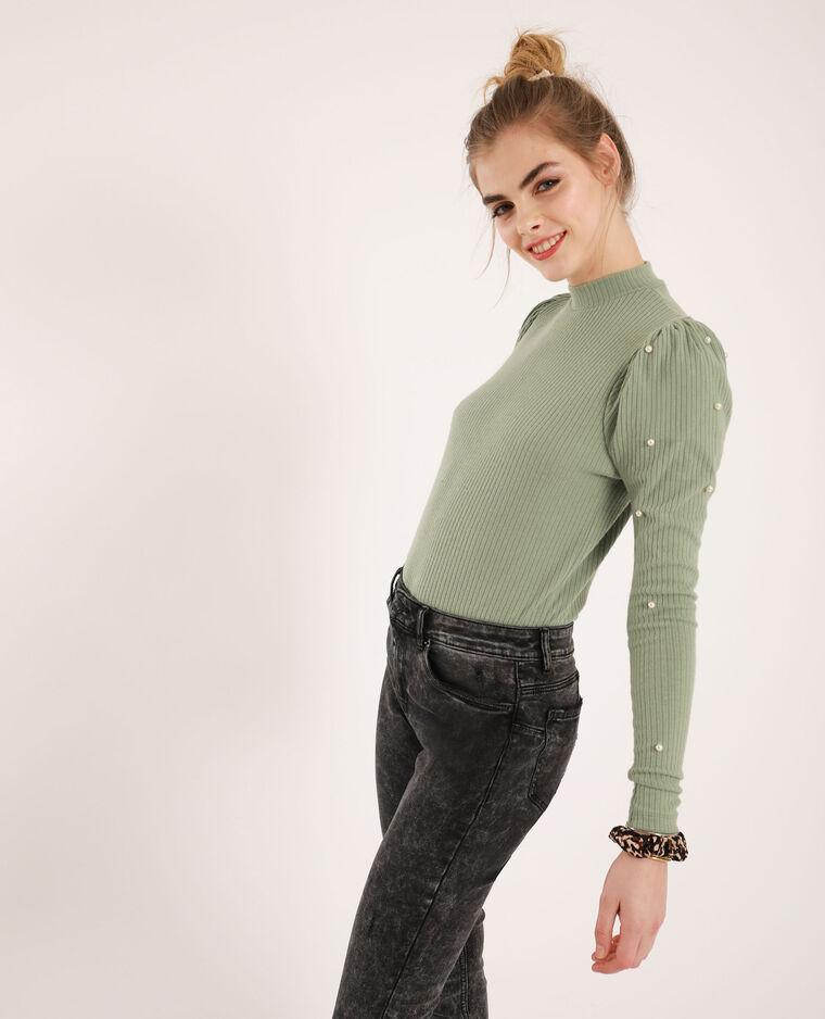 T-shirt con perle verde