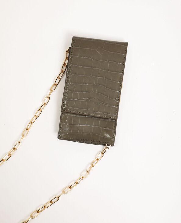 Pochette per smartphone con tracolla kaki