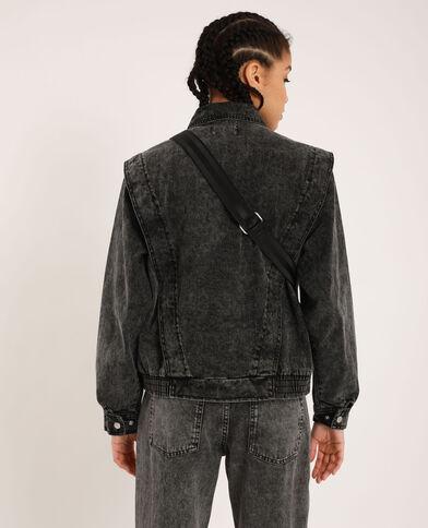 Giacca di jeans délavé grigio delavato
