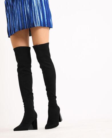 Stivali a mezza coscia con tacco nero