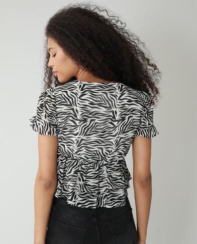 Blusa zebrata con volant nero - Pimkie