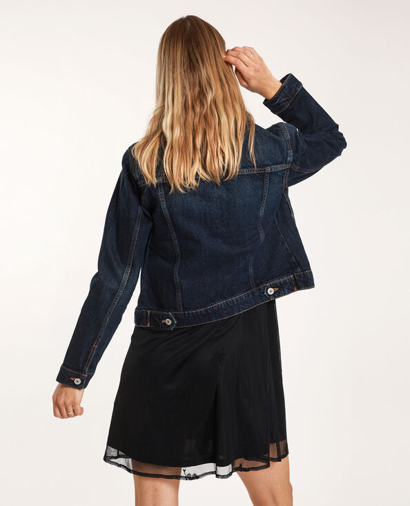 Giacca in jeans scuro blu grezzo