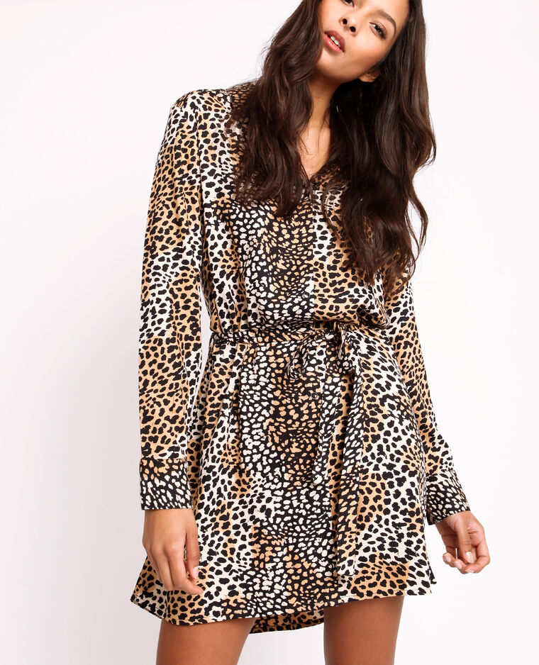 Abito camicia leopardato beige