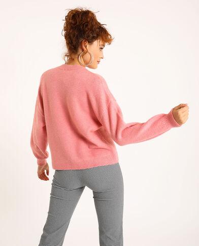 Pull ricamato rosa cipria