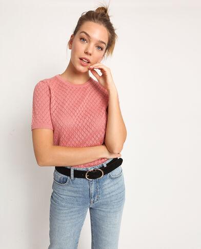 T-shirt traforata rosa