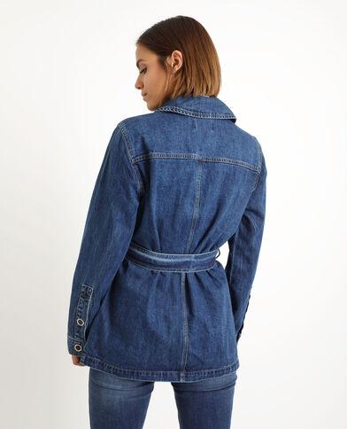 Giacca lunga in jeans. blu denim