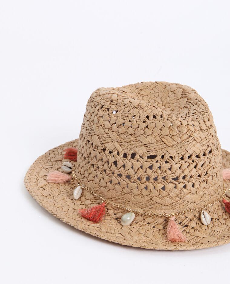Cappello in paglia con gioielli beige