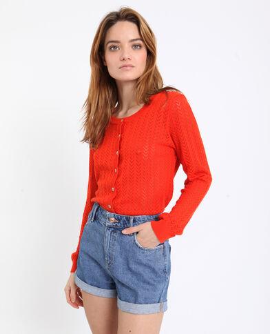 Cardigan in maglia traforata arancio