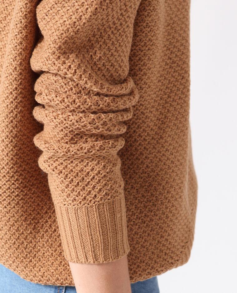 Pull in maglia fantasia beige sabbia