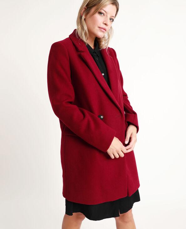 Cappotto in panno di lana prugna