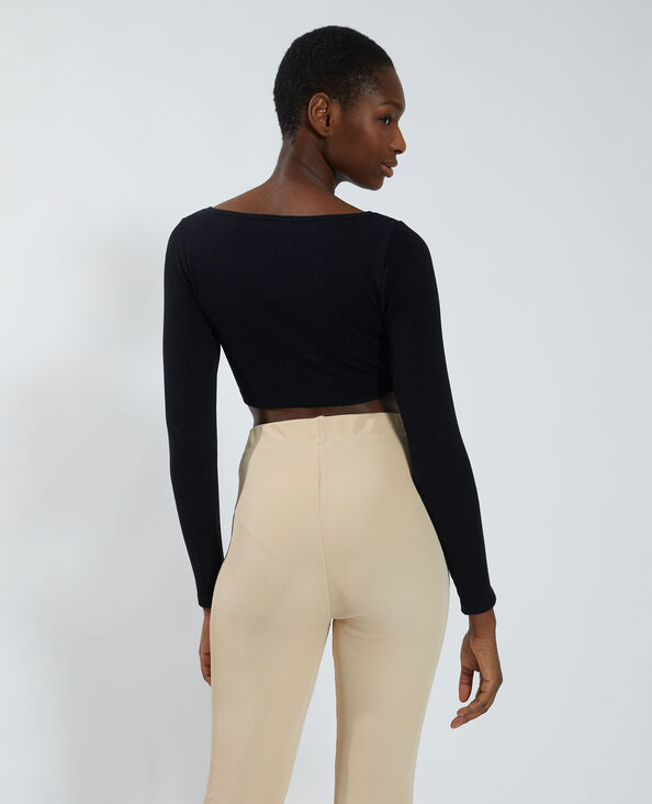 T-shirt cropped a coste nero - Pimkie