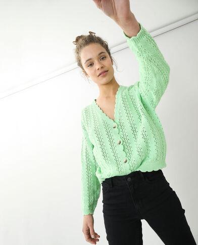 Cardigan in maglia traforata verde - Pimkie