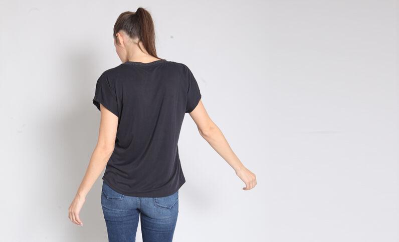T-shirt collo a V nero