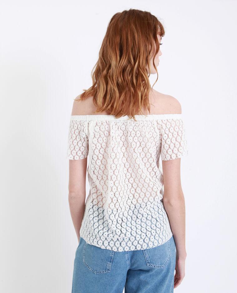 T-shirt ricamata bianco sporco