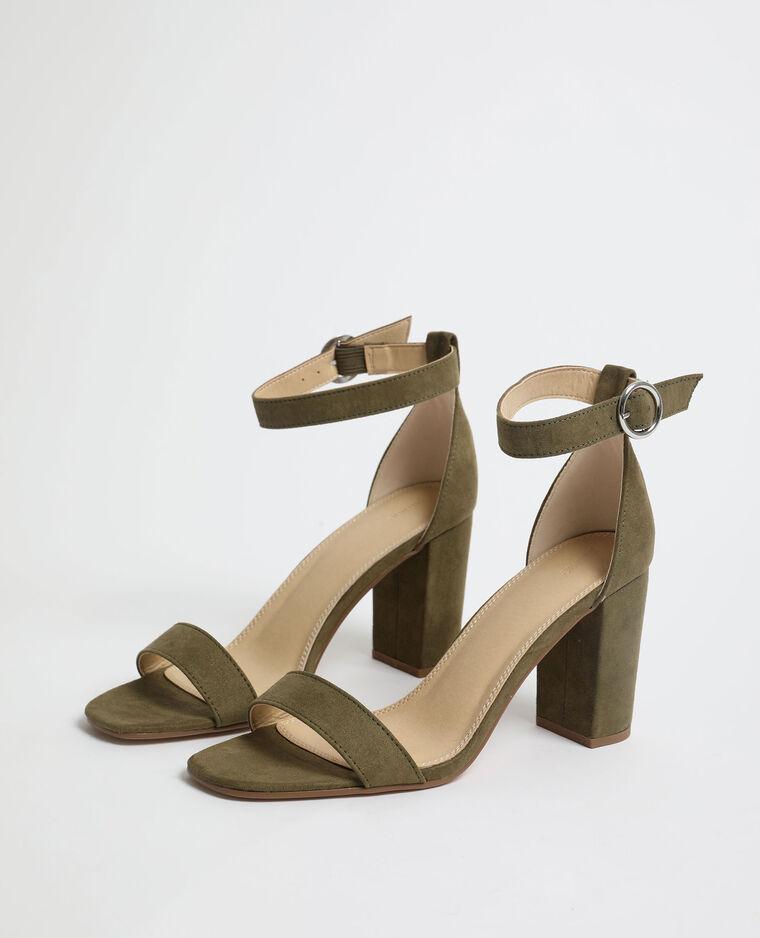 Sandali con tacchi in microfibra kaki