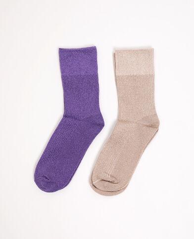 Lotto di 2 paia di calzini viola