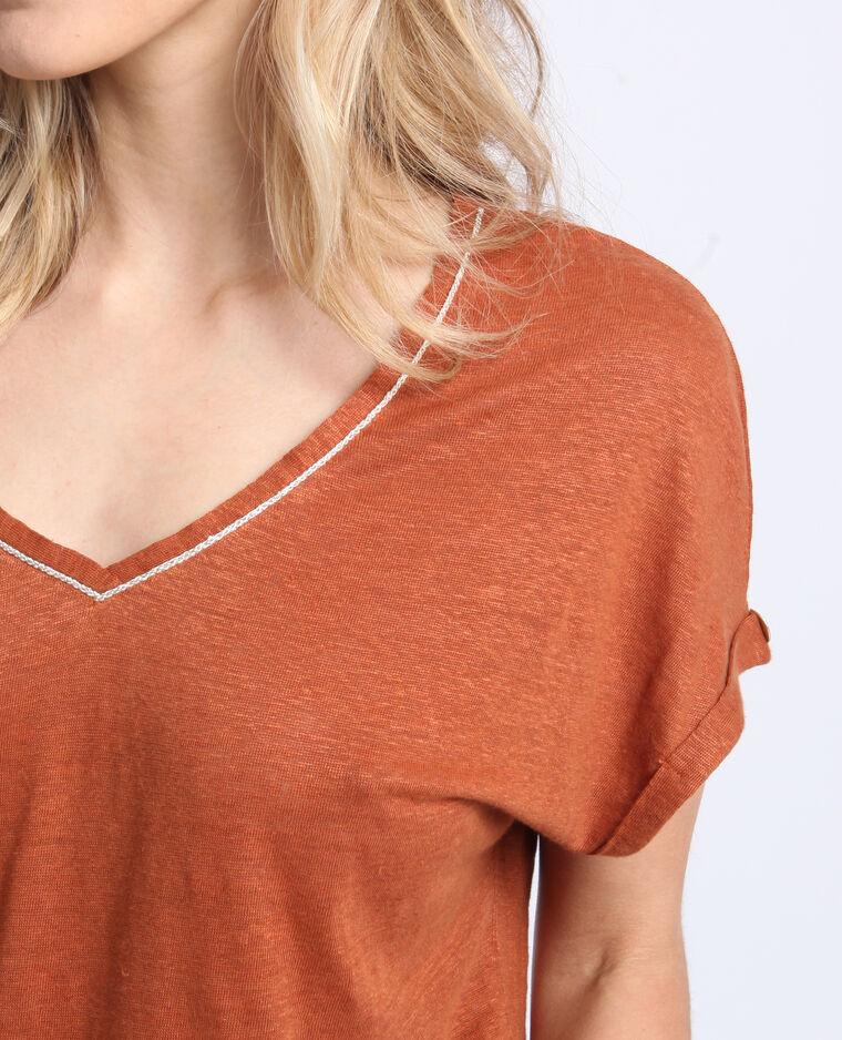 T-shirt collo a V ruggine