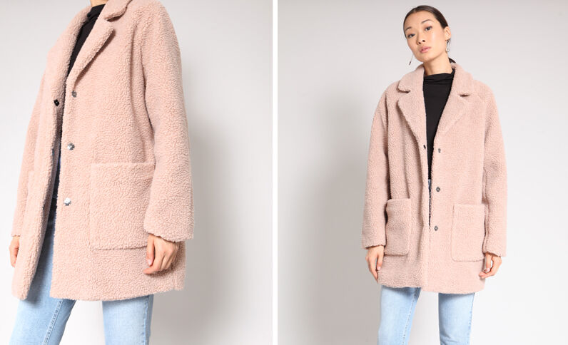 Cappotto in pelliccia ecologica rosa antico