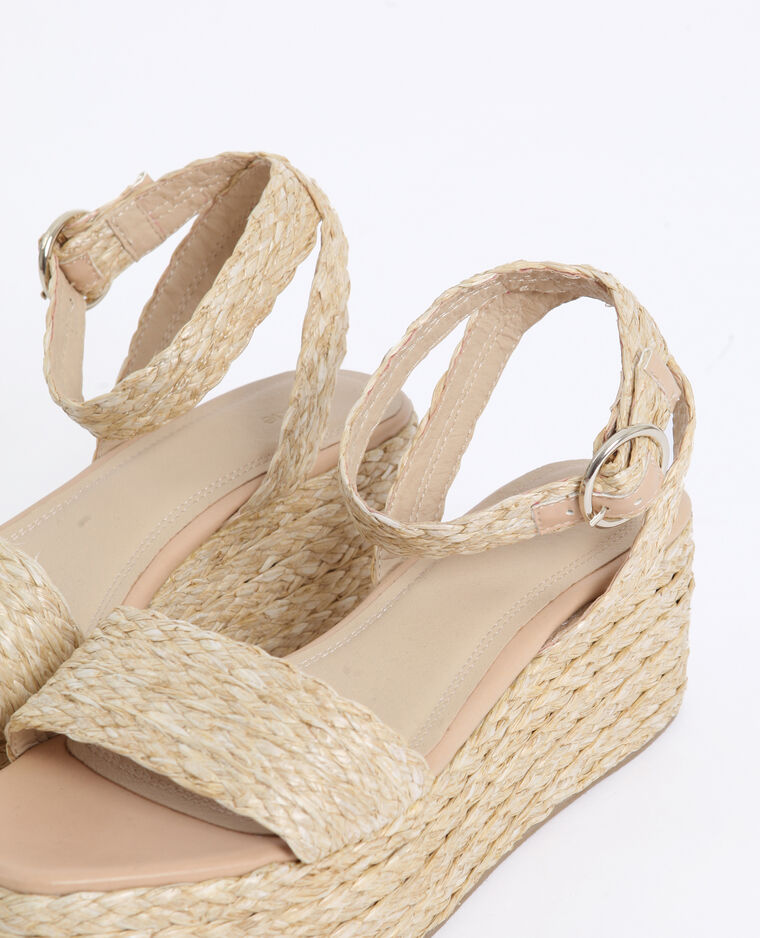 Sandali con plateau beige corda