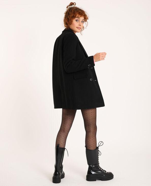 Cappotto dritto in panno di lana nero