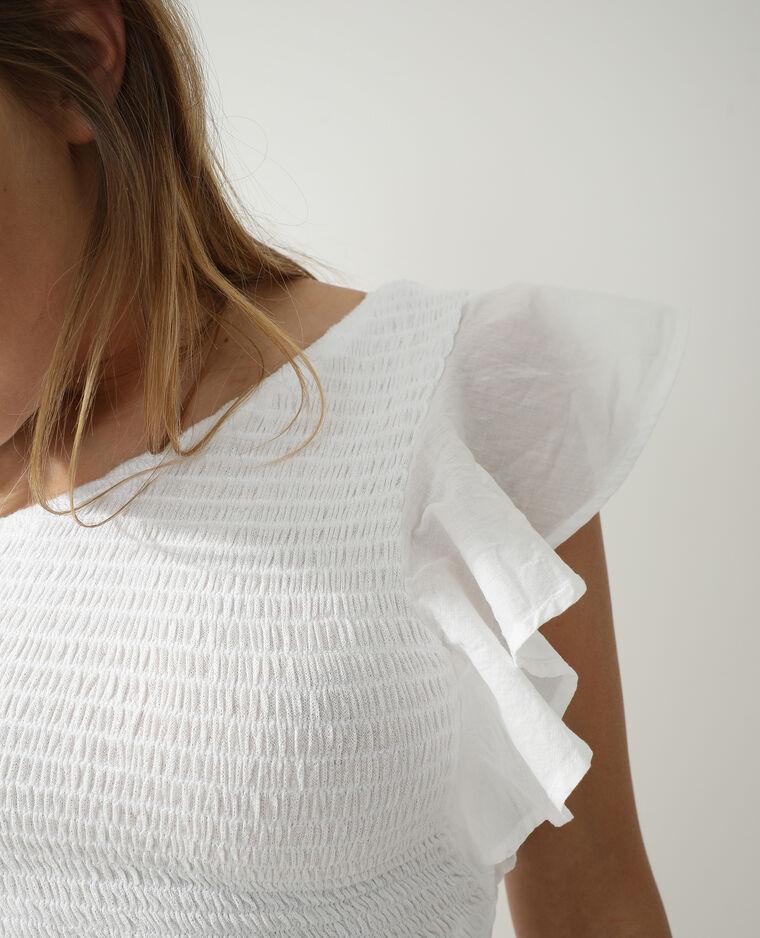 Top monospalla con smock bianco - Pimkie