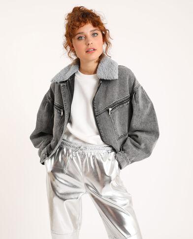 Giubbotto di jeans collo pelliccia grigio