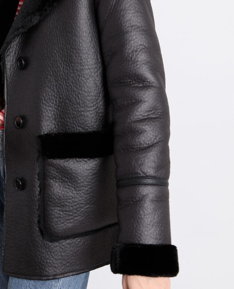 Cappotto effetto montone nero