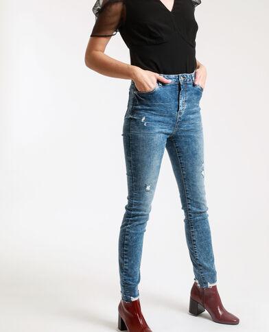Jeans skinny high waist délavé blu denim