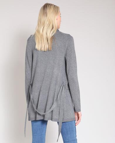 Cardigan lungo a cintura grigio chiné