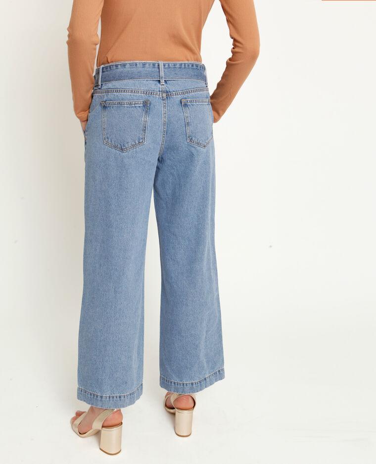 Jeans con gambe larghe blu delavato