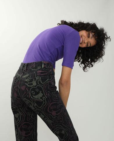 T-shirt a coste viola - Pimkie
