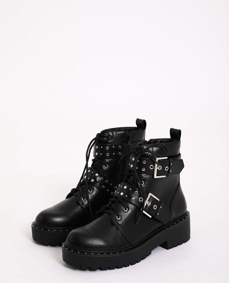 Stivali rock con cinghie nero