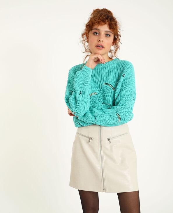 Pull in maglia traforata verde acqua - Pimkie