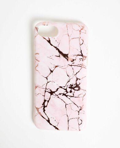Custodia compatibile con iPhone effetto marmo rosa
