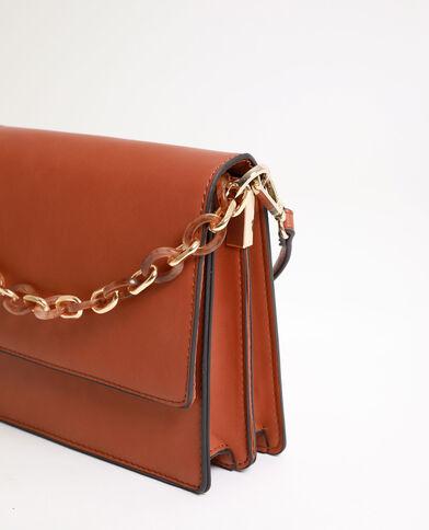 Piccola borsa con manico a scaglie caramello
