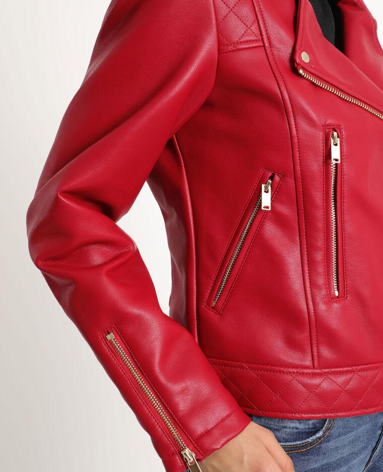 Giacca da motociclista in similpelle Rosso