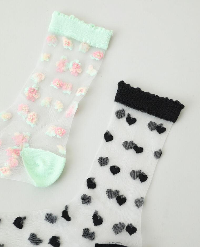 Lotto di 2 paia di calzini trasparenti nero - Pimkie