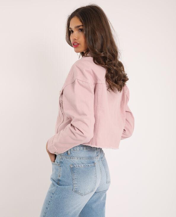 Giacca di jeans corta rosa