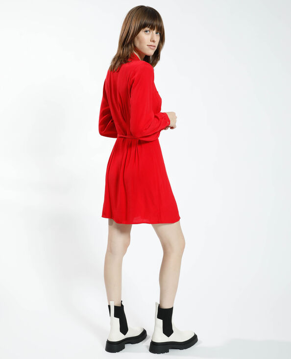 Abito camicia da annodare rosso - Pimkie