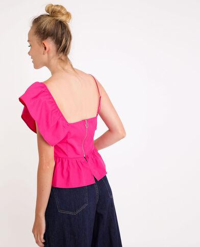 Top asimmetrico rosa fucsia
