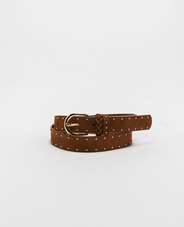 Cintura con borchie caramello