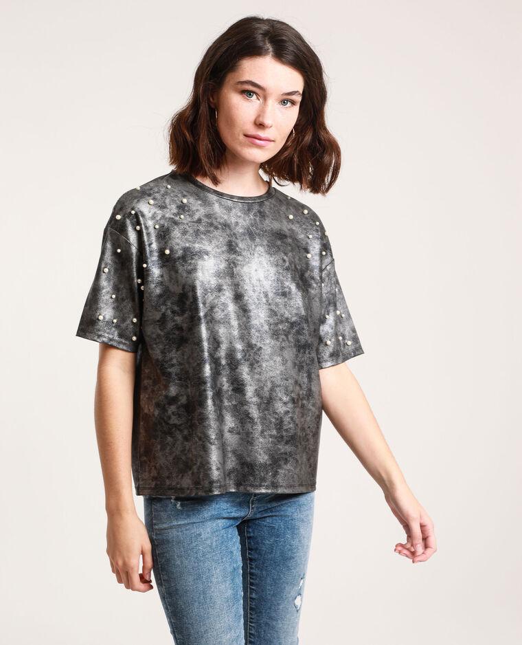 T-shirt con perle grigio antracite - Pimkie