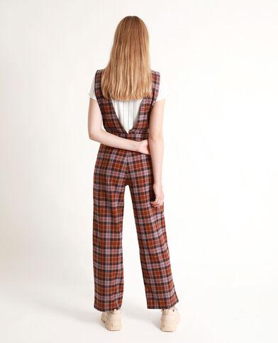 Abito pantalone a quadri marrone