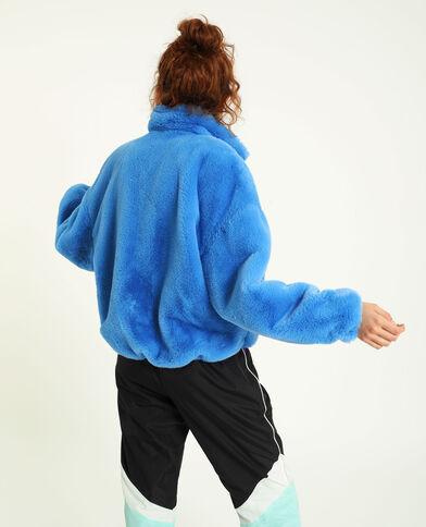 Giubbotto in pelliccia ecologica blu