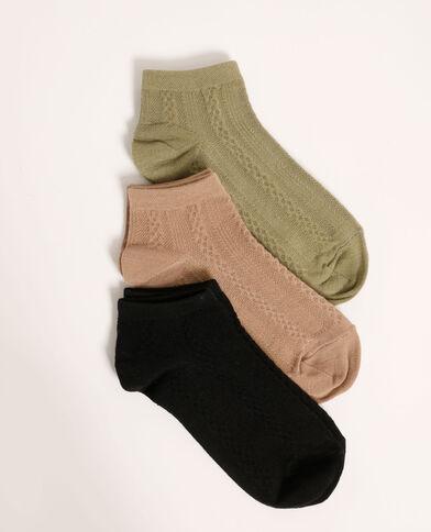 Lotto di 3 paia di calzini bassi con motivi fantasia nero - Pimkie