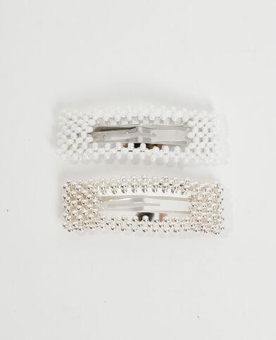Lotto di 2 forcine con perle bianco - Pimkie