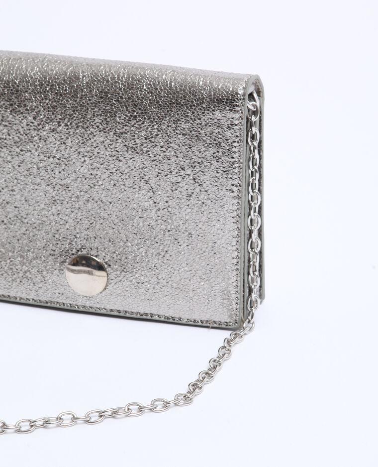 Piccola borsa boxy grigio paillettato