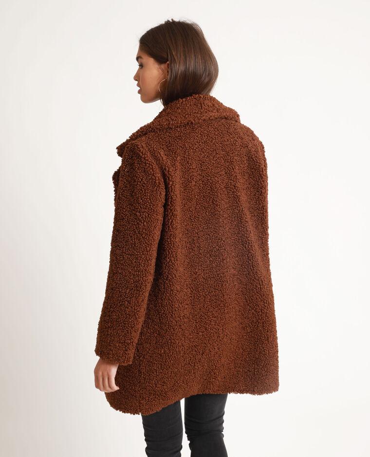Cappotto effetto montone marrone