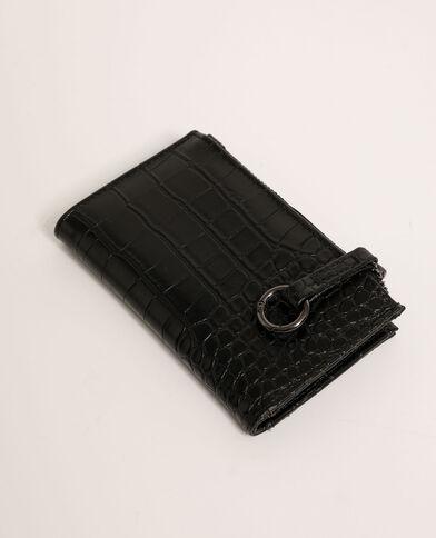 Mini portafoglio effetto coccodrillo nero - Pimkie